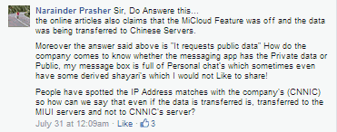 Copied Comment on Xiaomi