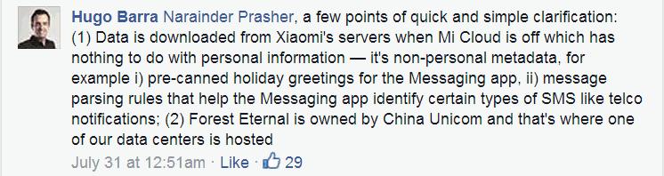 Hugo Barra Xiaomi Replies