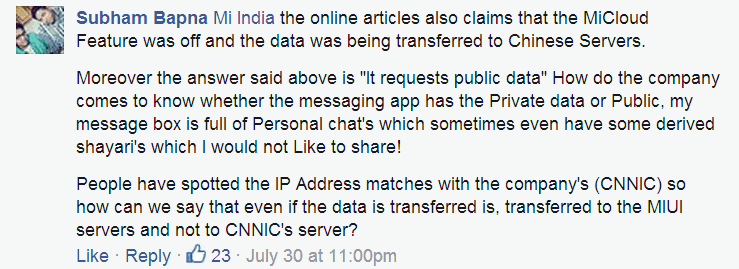 Subham Bapna at DroidMen comment on Xiaomi