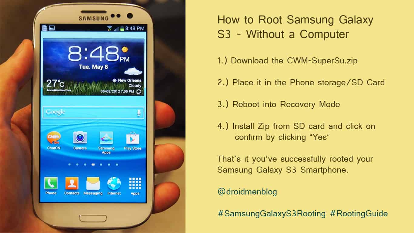 Root a Samsung Galaxy S3 without computer
