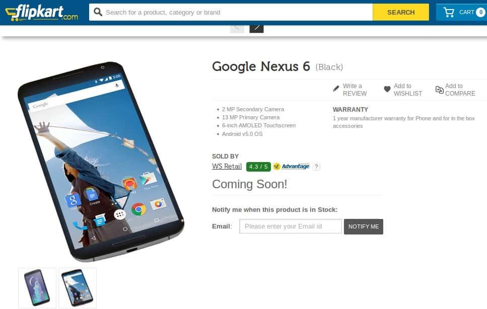 Nexus 6 flipkart india