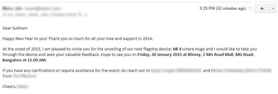 Xiaomi mi 4 launch event