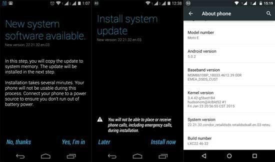 Moto E 5.0.2 update