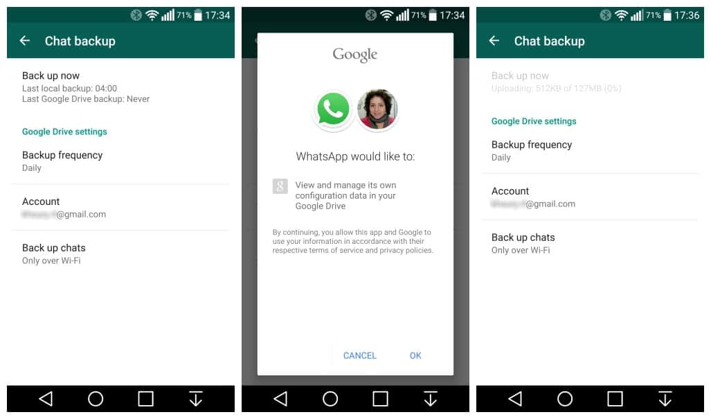 WhatsApp Backup Google Drive Settings