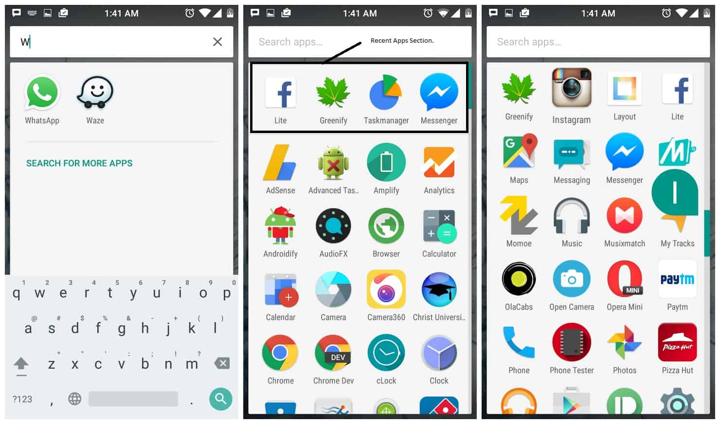 Google Launcher Latest Update Brings Quick Search, Recent Apps, Vertical Scrolling and Scrolling Alphabetically.
