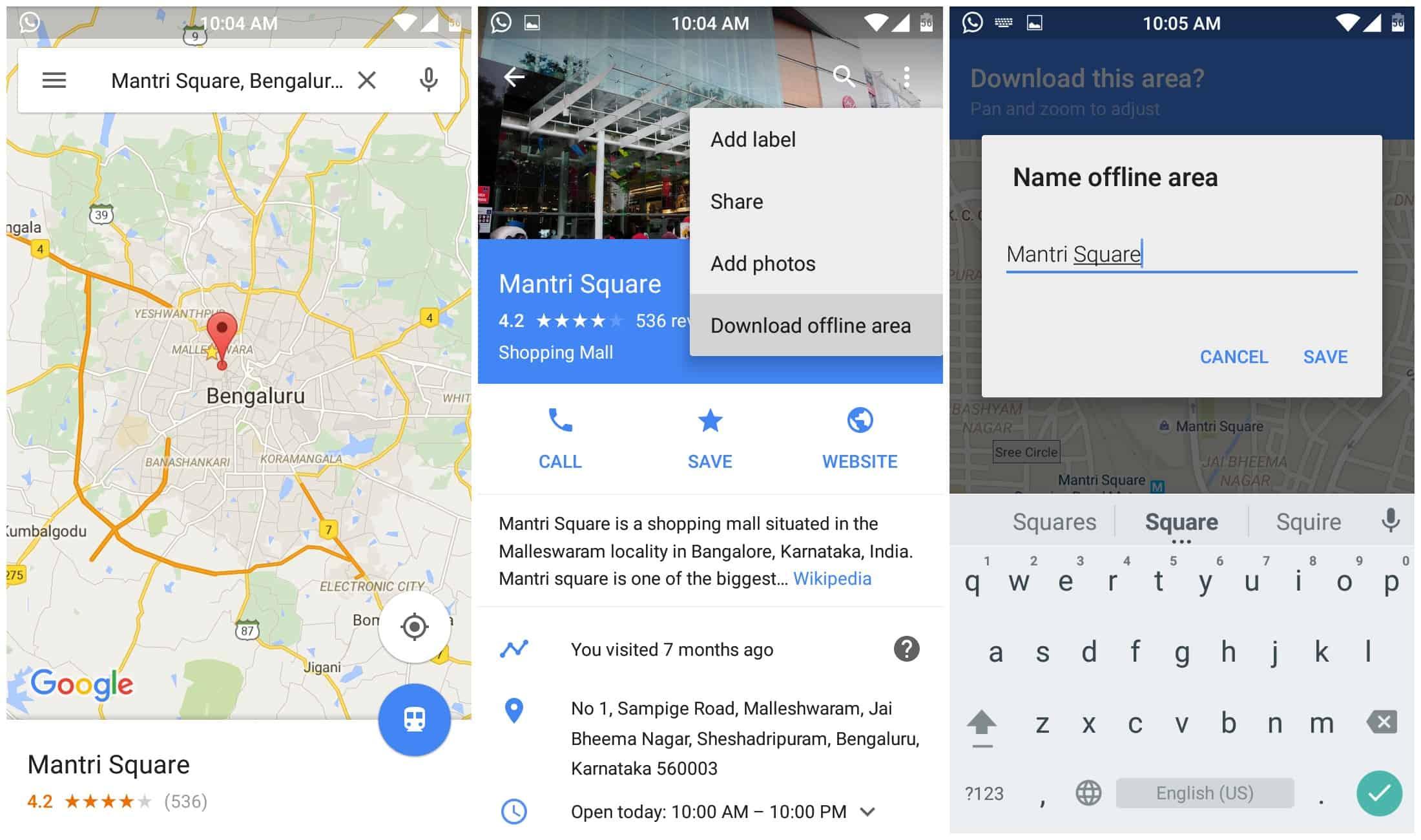 Saving the Offline Area on Google Maps Offline