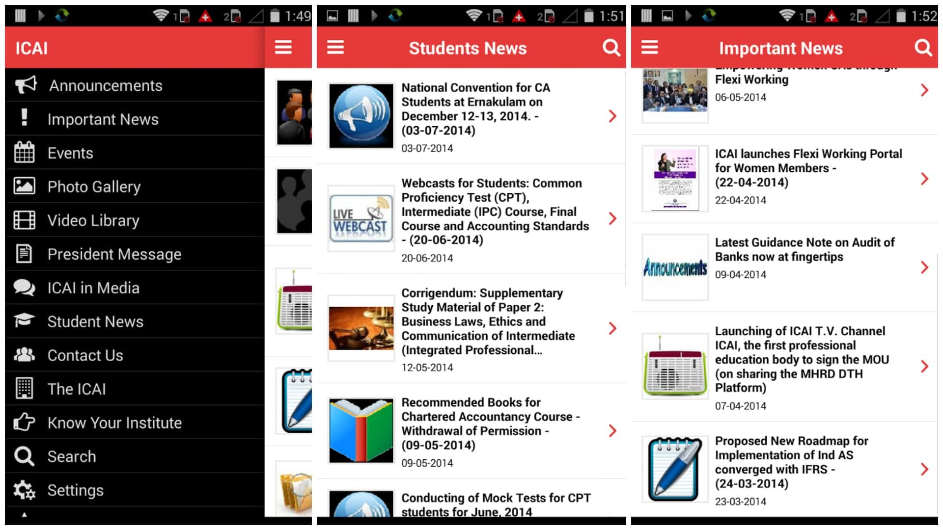 ICAI Android App for Chartered Accountant
