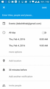 Open the Calendar App and select a date