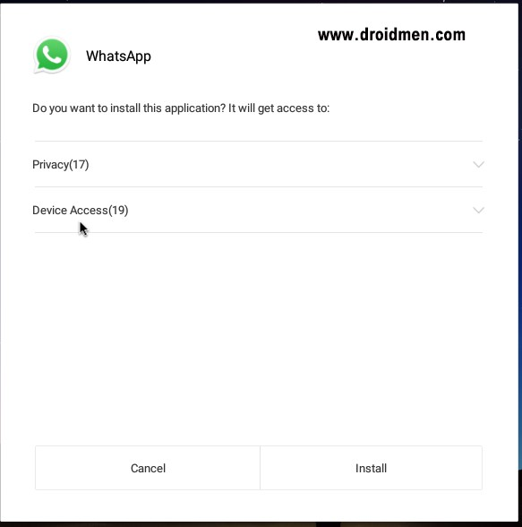 WhatsApp APK install on Remix OS - Permissions Page